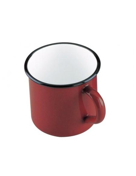 Mug de acero esmaltado vitrificado rojo